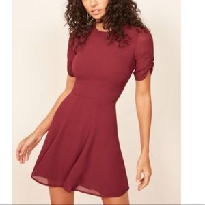 Reformation Gracie Ruched Sleeve Dress In Garnet